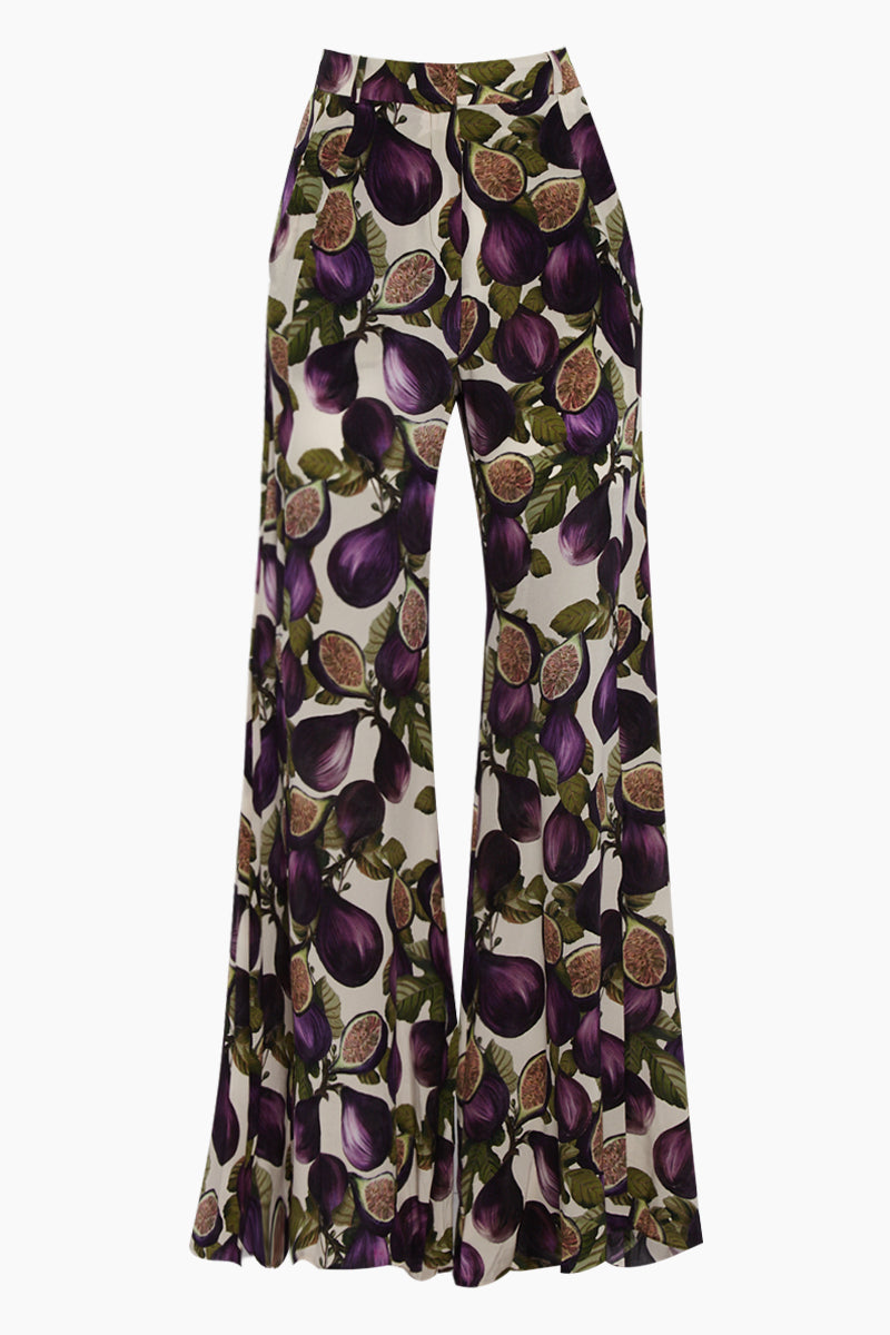 Silk Crepe De Chine Wide Leg Pants - Fig Purple Print