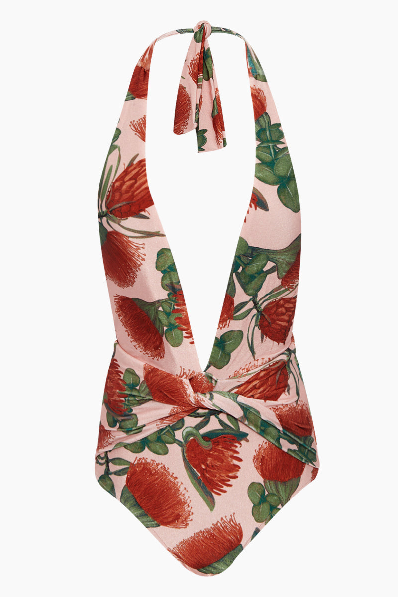 Twisted Halter Neck One Piece Swimsuit - Fiore Rose Print