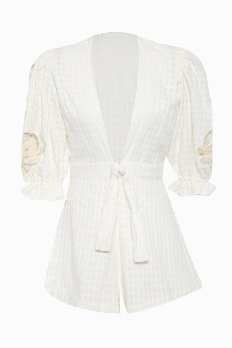 Embroidery Romper - Off White