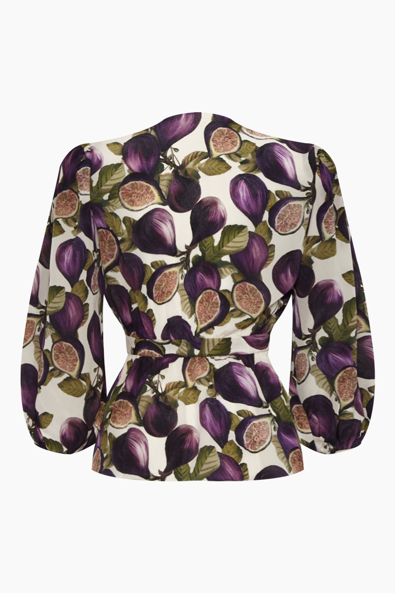 b0469bd24a6b8 ... ADRIANA DEGREAS Silk Crepe De Chine Voluminous Sleeves Shirt - Fig  Purple Print - undefined undefined