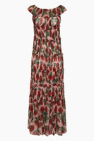 Tall Sophisticated Tiered Shirred Floral Print Silk Off the Shoulder Loose Fit Maxi Dress With Ruffles