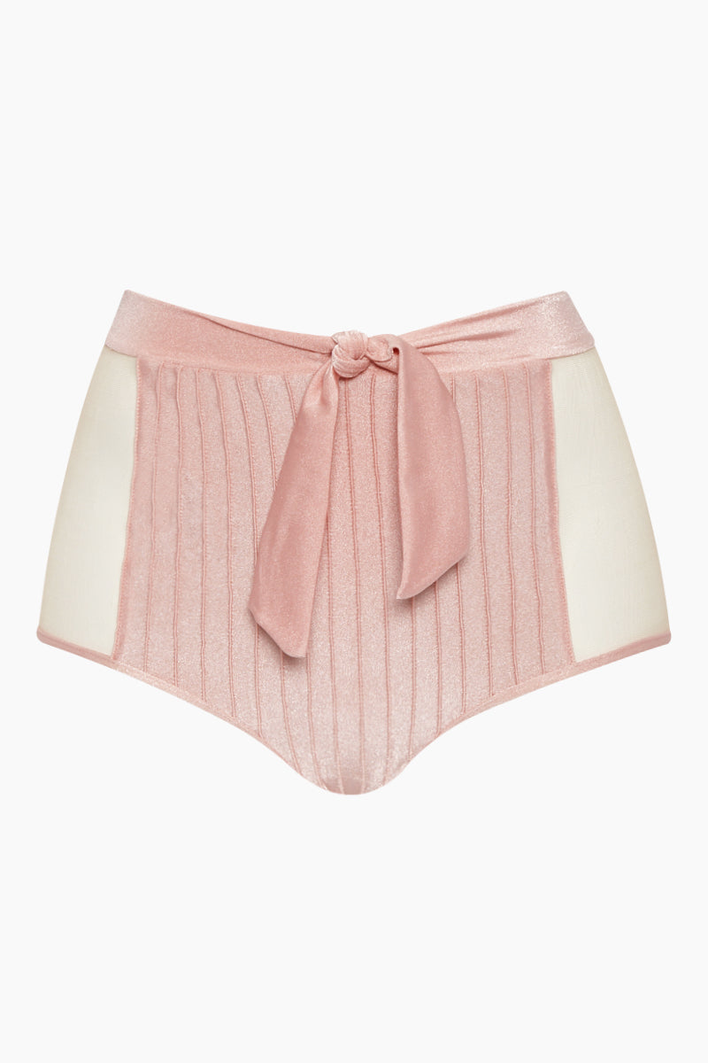 Hot Color Block High Waist Belted Bikini Bottom - Light Pink/Mesh