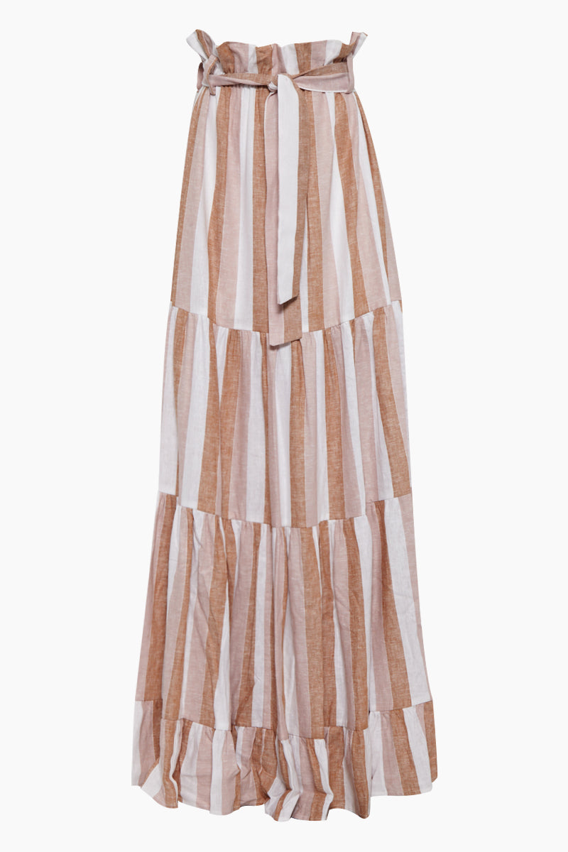 Striped Clochard Long Skirt - Porto Rose Stripe Print