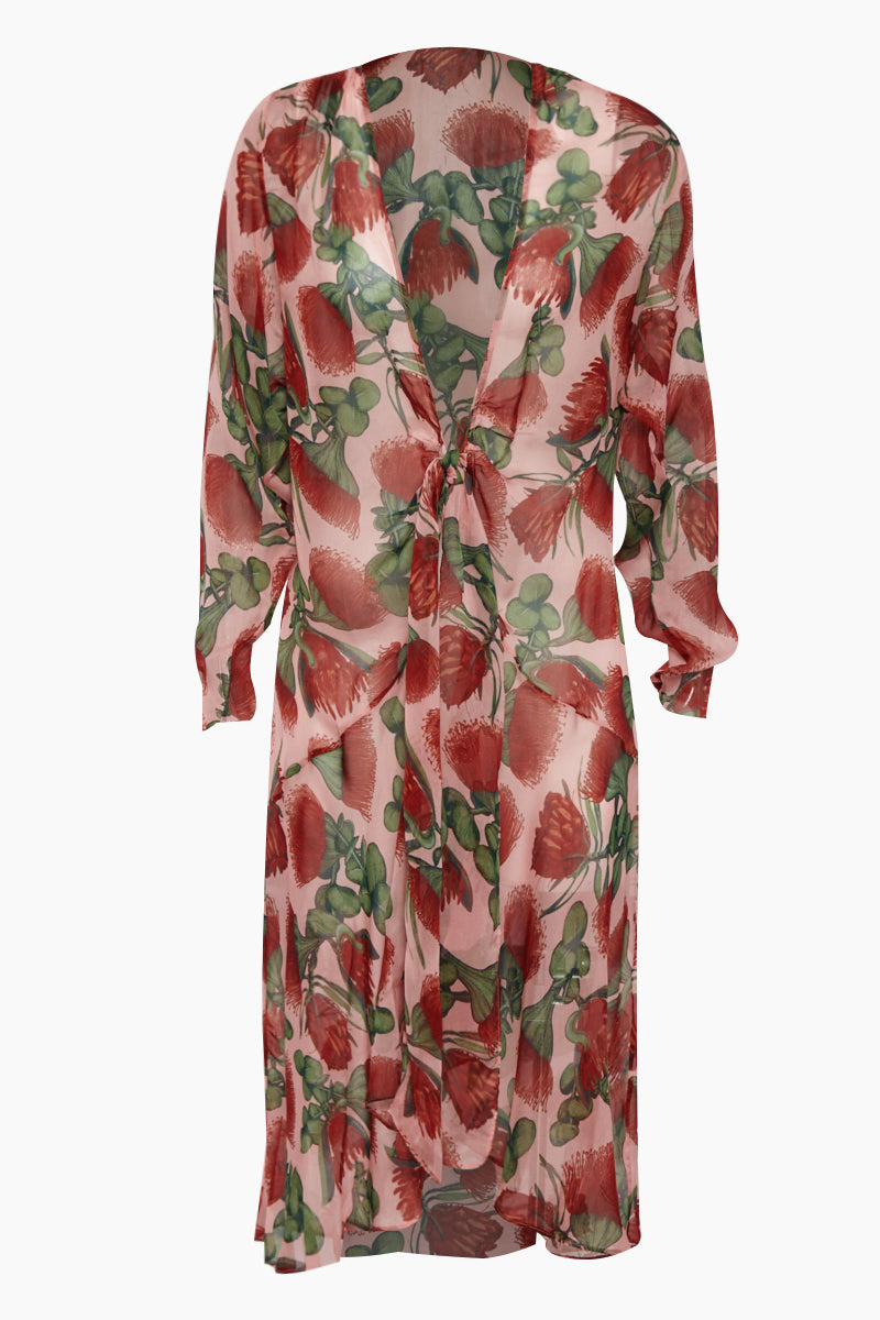 d3def2a5d7cd3 ADRIANA DEGREAS Silk Muslin Long Robe Cover-Up - Fiore Rose Print -  undefined undefined ...