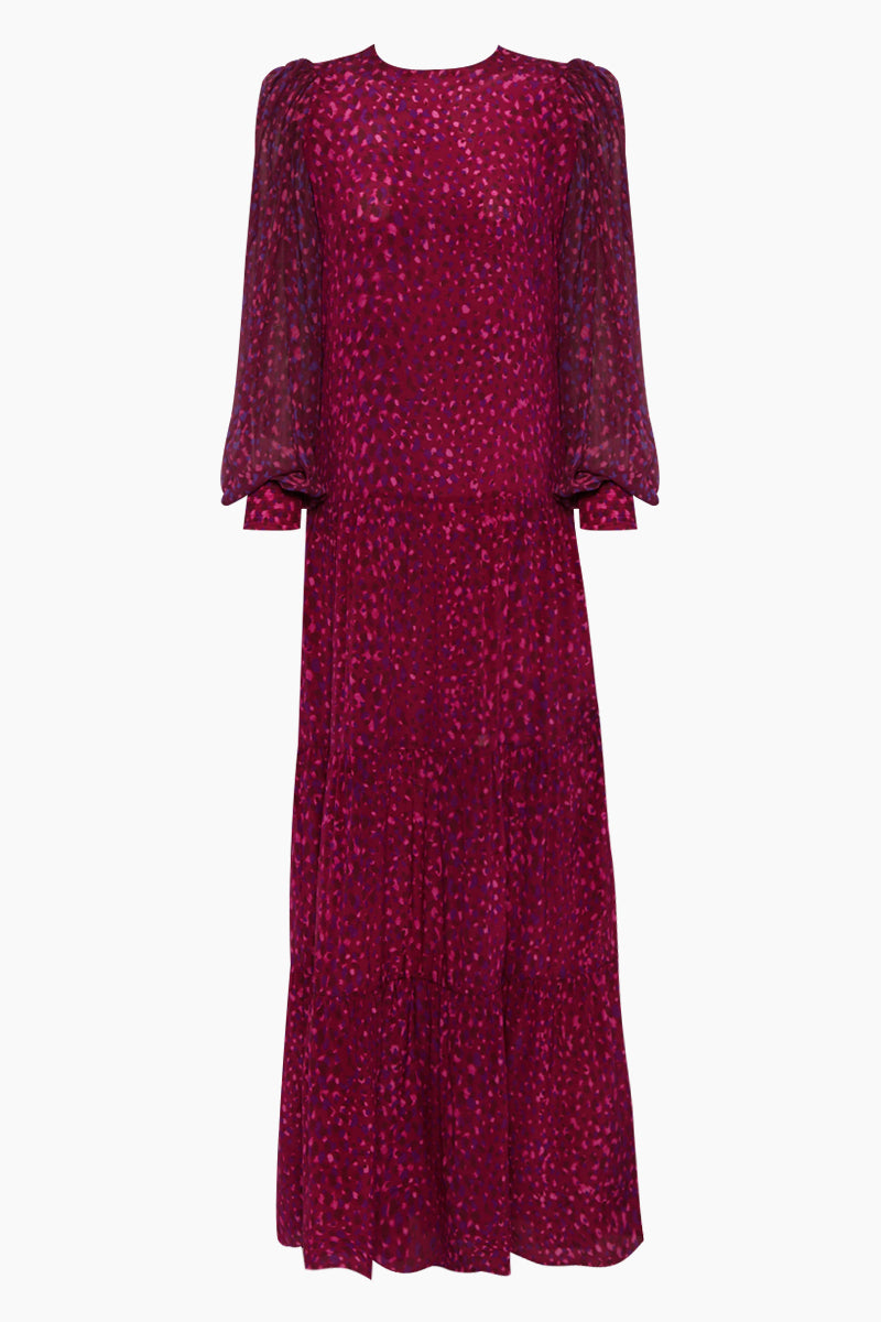 Silk Crepe De Chine Voluminous Sleeves Long Dress - Pomegranate Pink Print