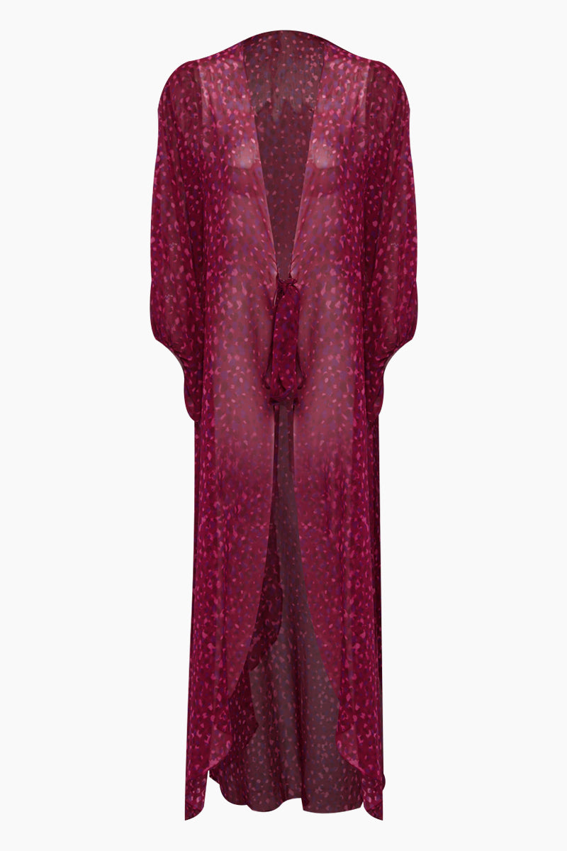 Silk Georgette Long Robe Cover-Up - Pomegranate Pink Print
