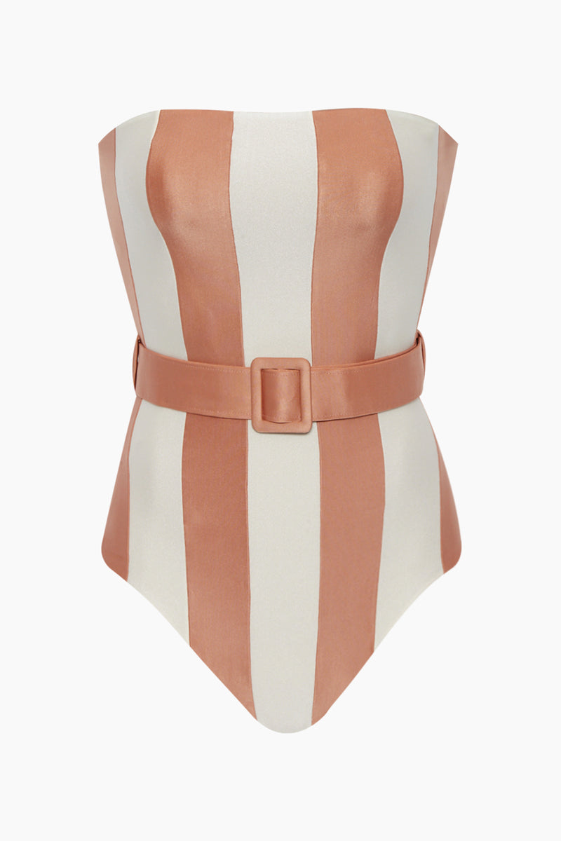 412a478f6e ADRIANA DEGREAS Strapless Belted One Piece Swimsuit - Rose Stripe Print - undefined  undefined ...