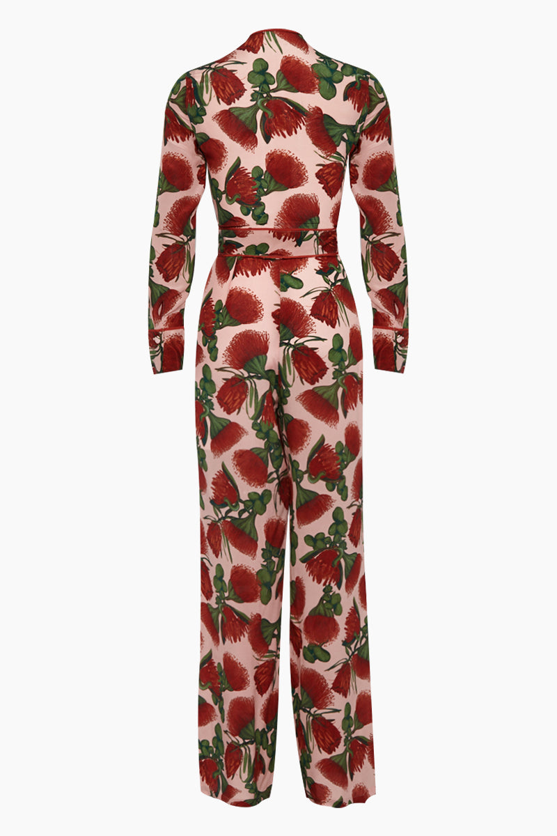403010687c63 ... ADRIANA DEGREAS Silk Crepe De Chine Knot Detail Jumpsuit - Fiore Rose  Print - undefined undefined