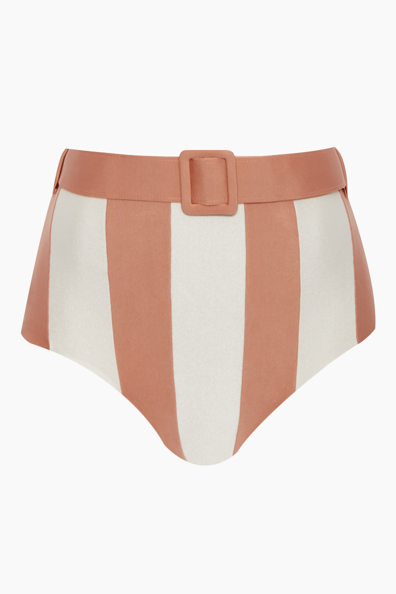 Hot High Waist Belted Bikini Bottom - Rose Pink/Off White Stripe Print