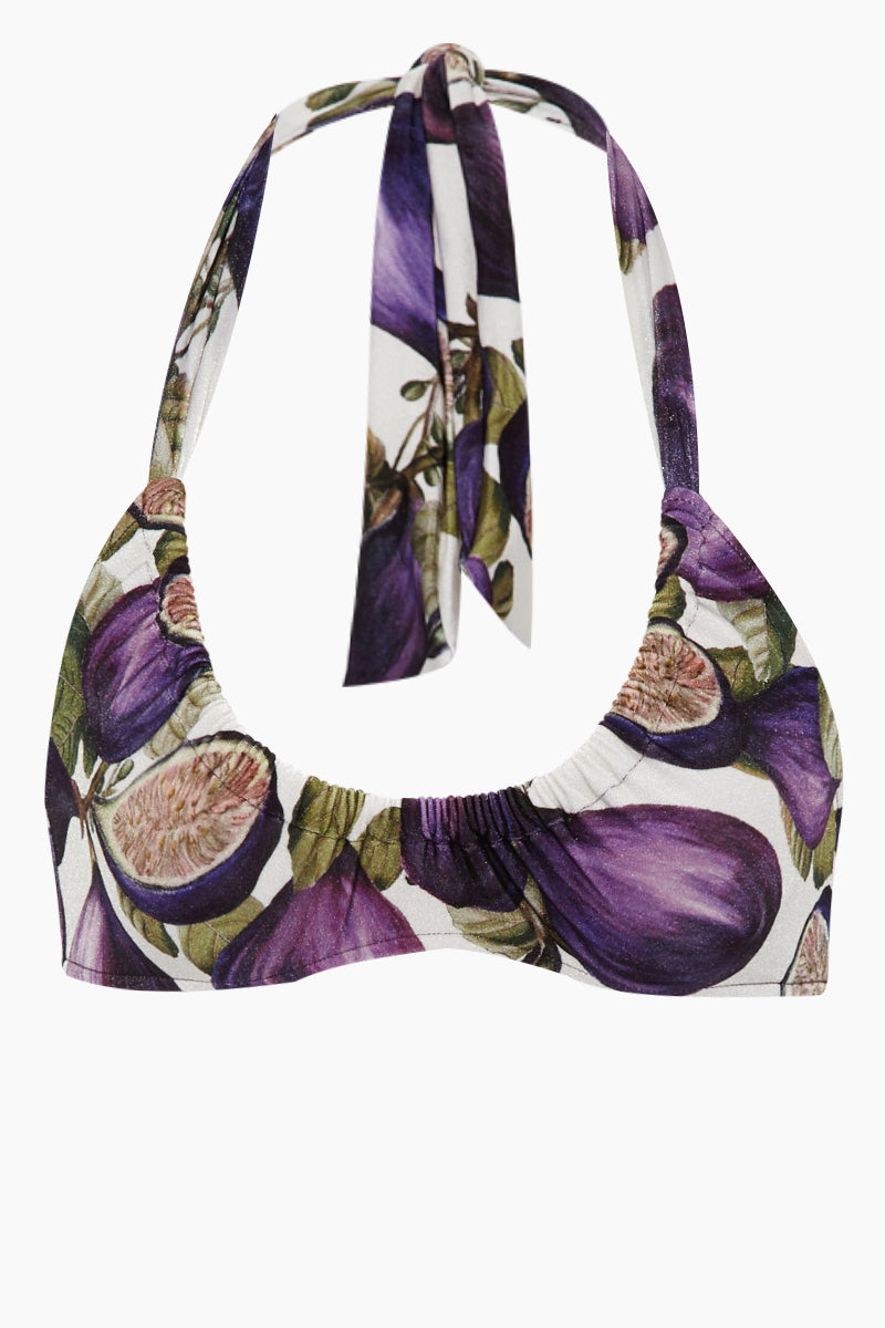 Scoop Halter Bikini Top - Fig Purple Print