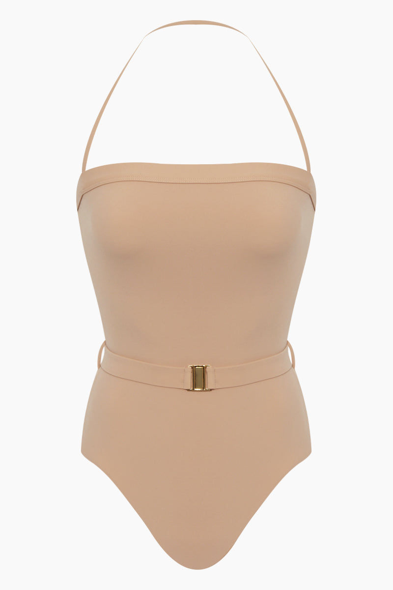 Nathalie Belted High Cut One Piece Swimsuit - Nude