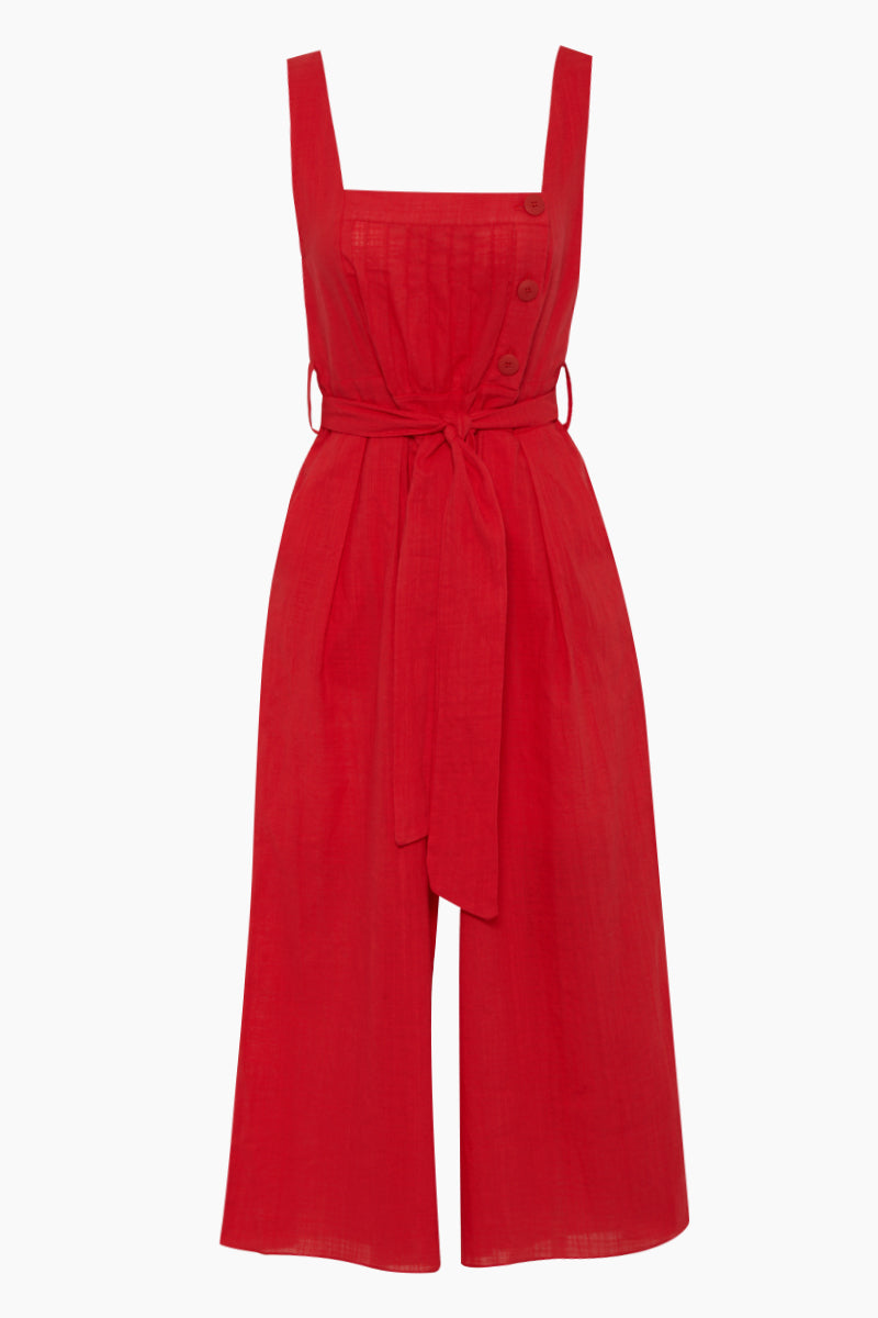 Ascari Button Front Jumpsuit - Pepper Red