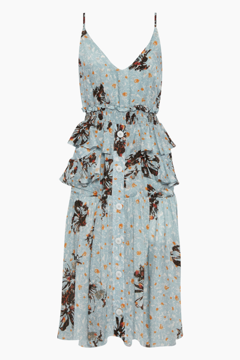 Ellia Ruffle Button Up Midi Dress - Blue Fleur Print