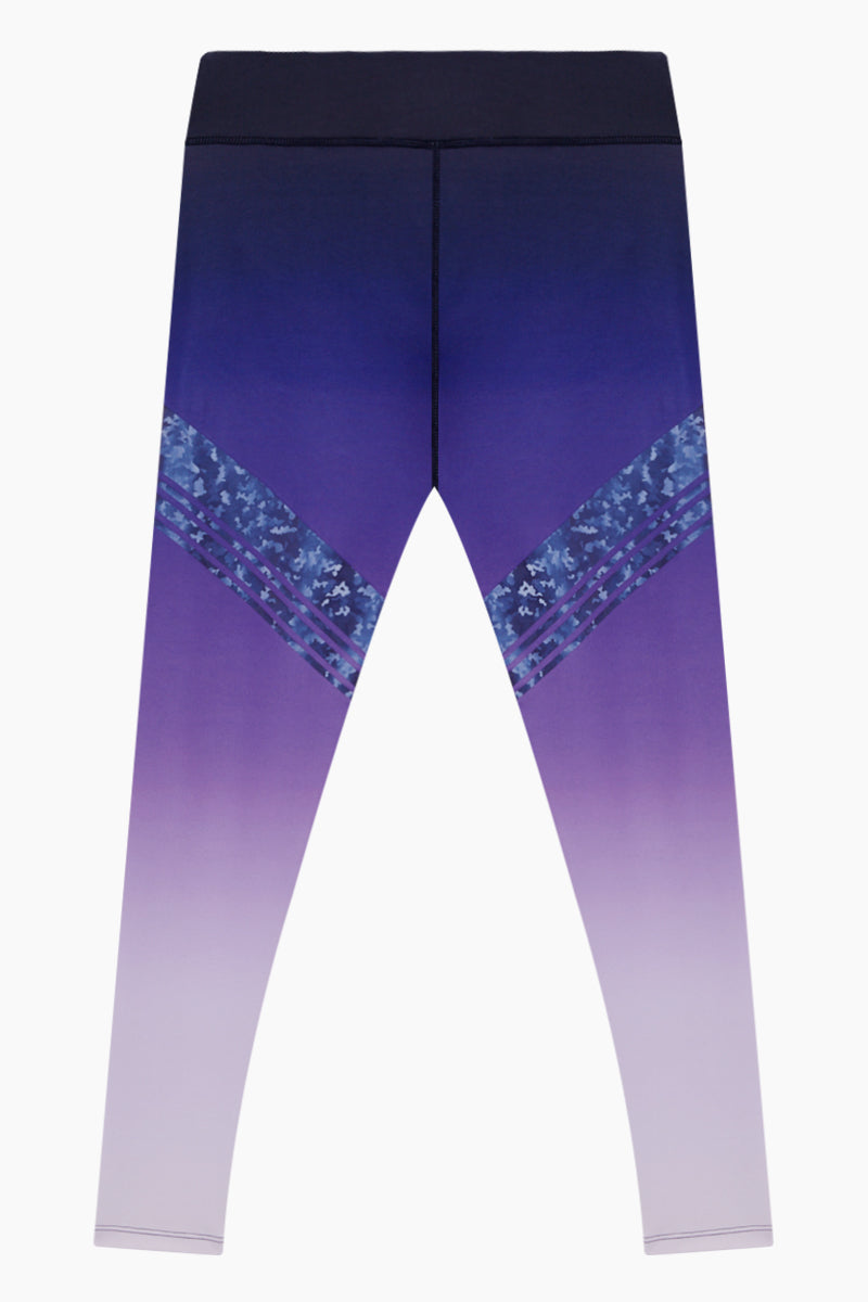 Logan Sporty High Waist Leggings - Violet Purple Ombre Print