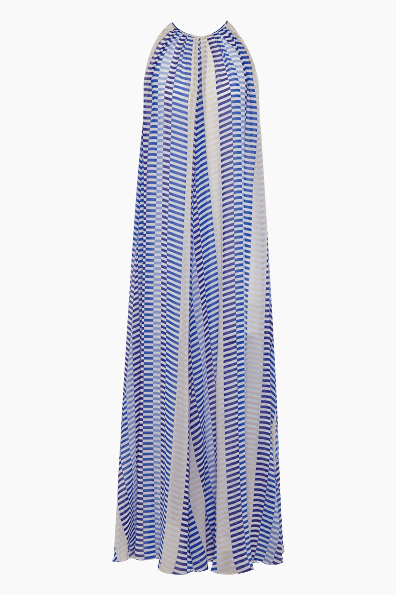 Bastia High Neck Slip Maxi Dress - Blue Broken Stripe Print