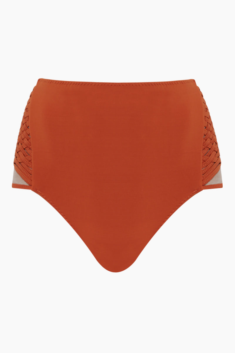 Havel Weaving High Waist Bikini Bottom - Ginger Orange