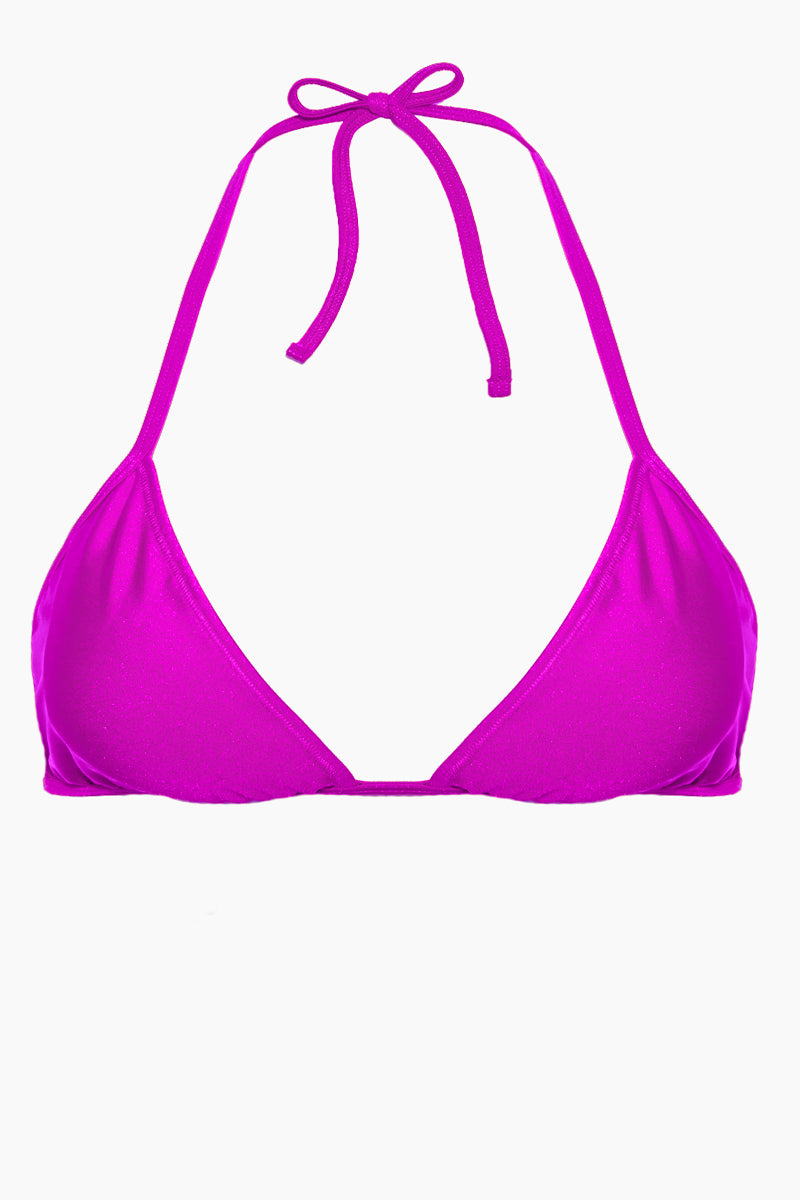 Carly Halter Triangle Bikini Top (Curves) - Violet Purple