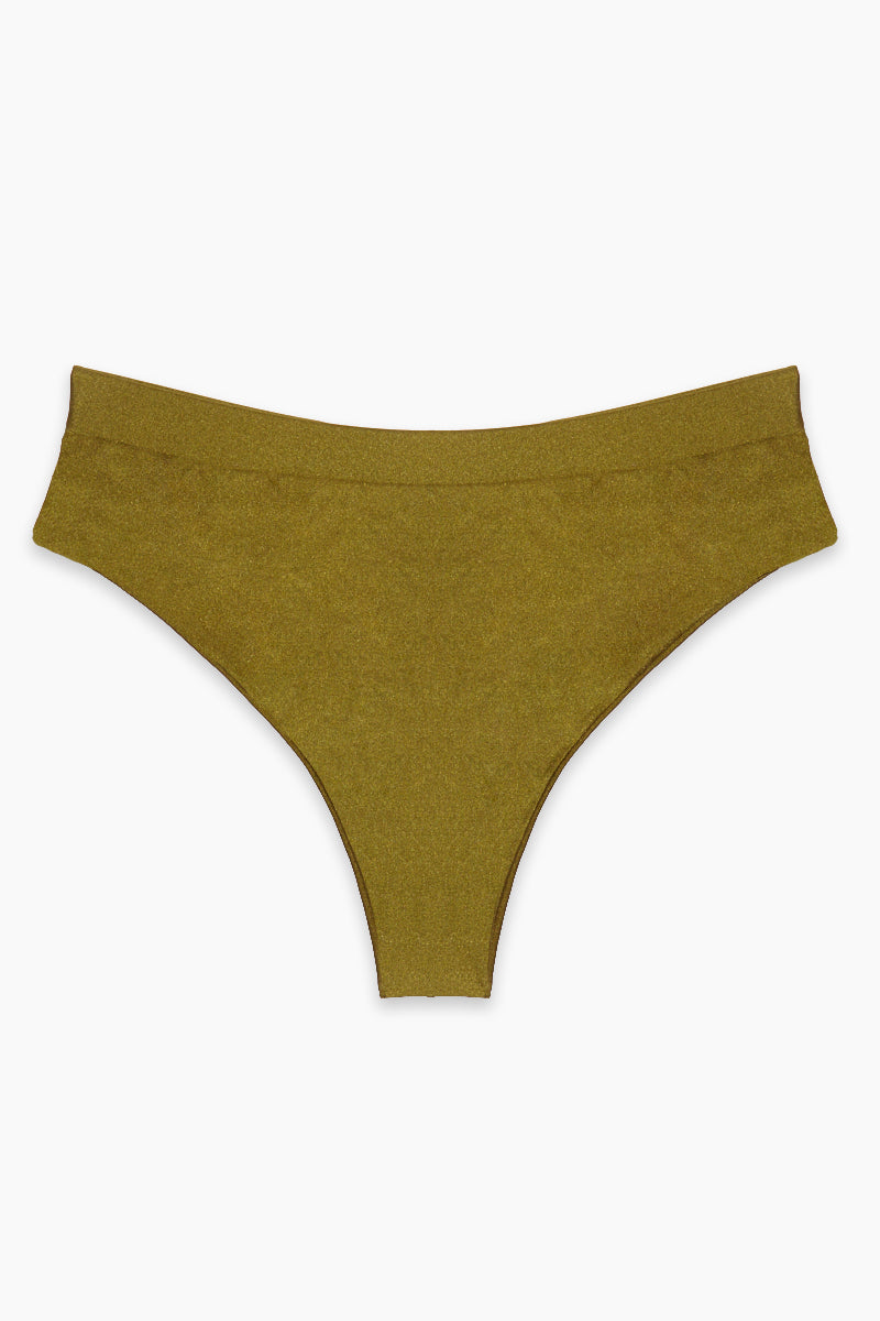 Tori High Waist Bikini Bottom (Curves) - Olive