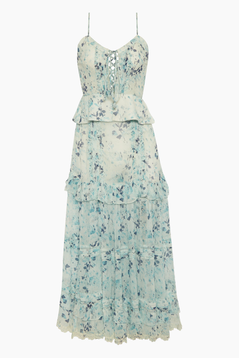 Crinkle Chiffon Ruffle Long Dress - Dawn Sky Floral Print