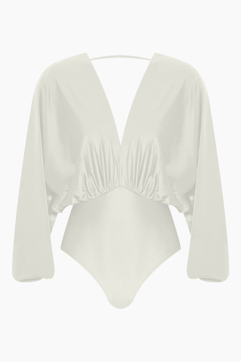 Brazilian Long Sleeves One Piece Swimsuit - Off White