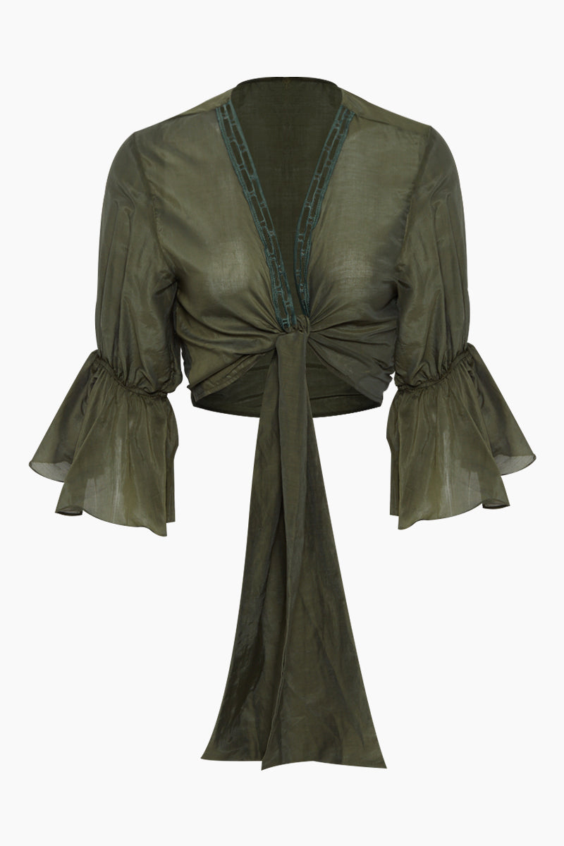 Orla Cotton Front Tie Blouse - Green