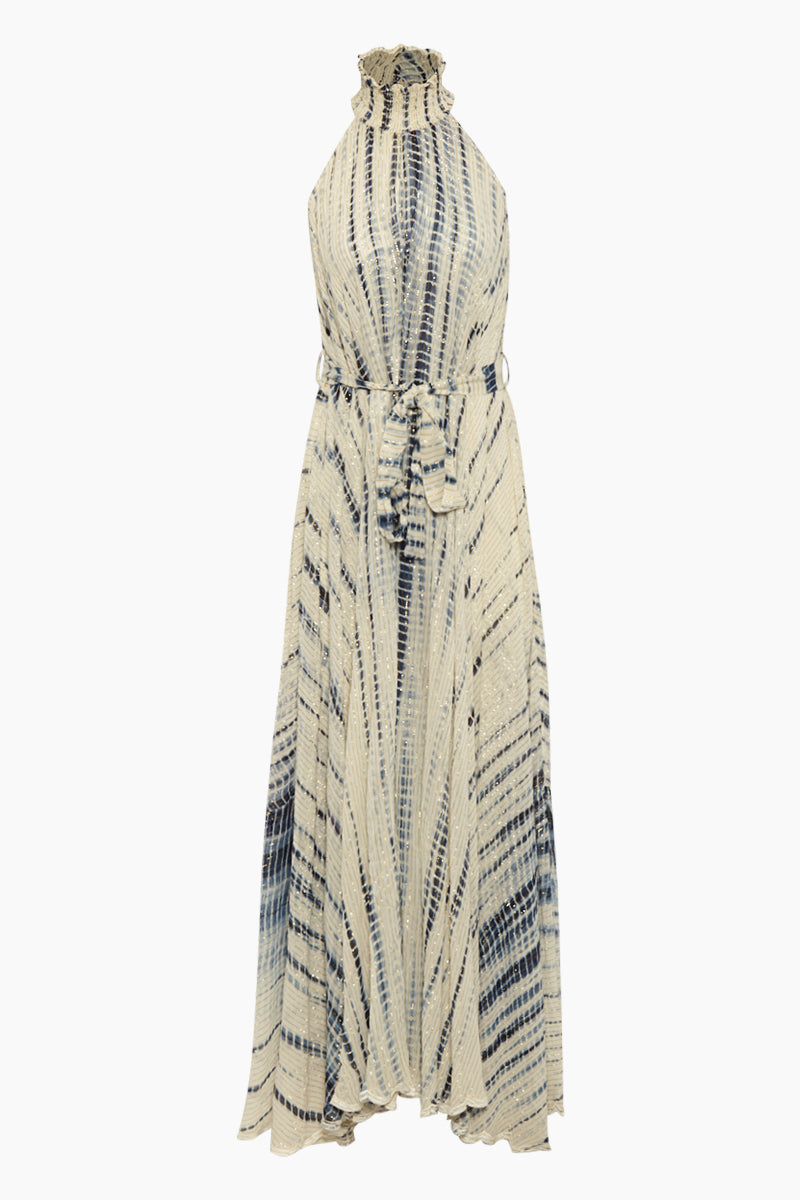 High Neck Lurex Long Dress - Maera Blue Stripe Print