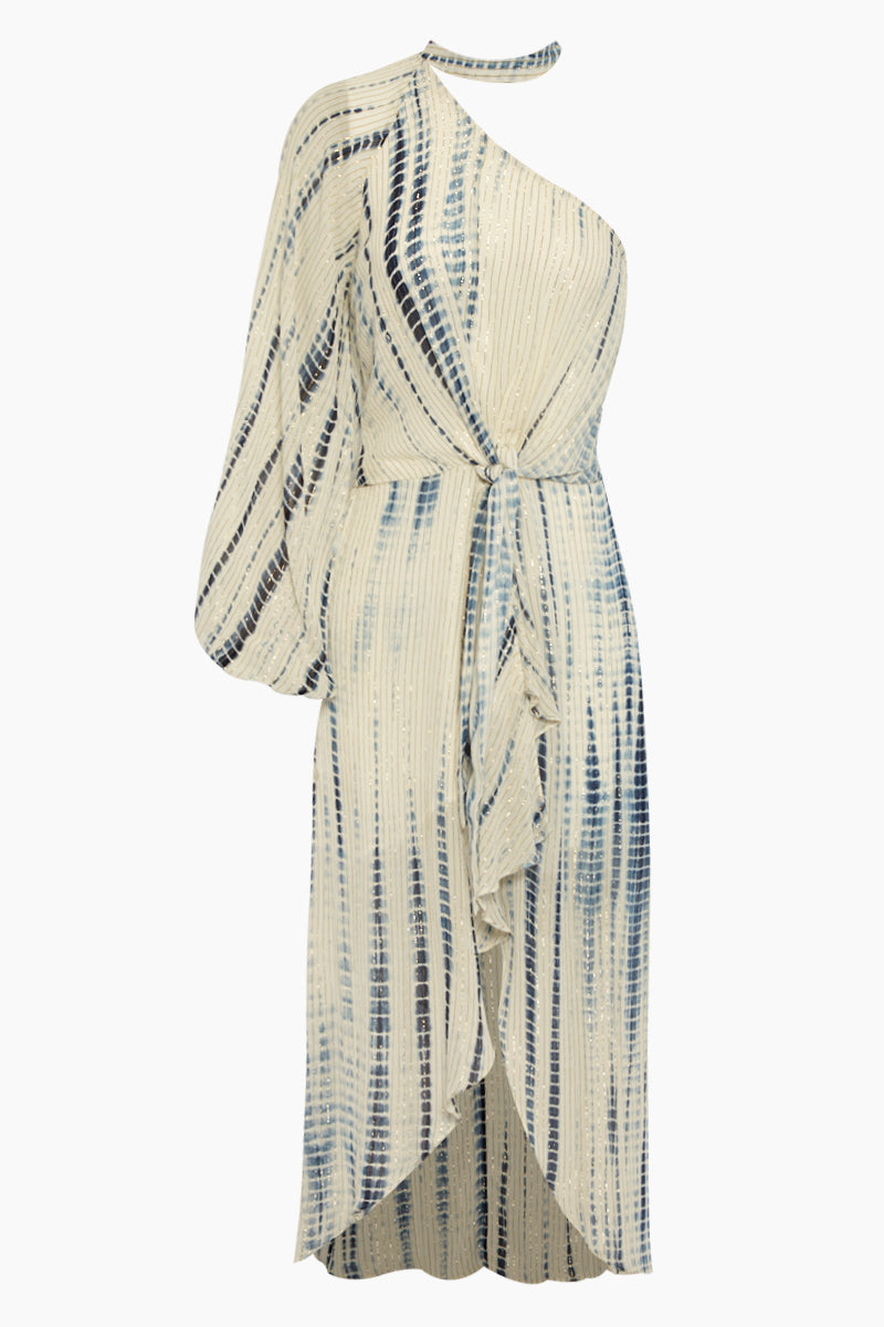 One Shoulder Georgette Long Dress - Maera Blue Stripe Print