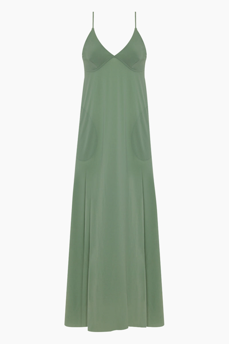 Slip A Line Long Dress - Moss Green