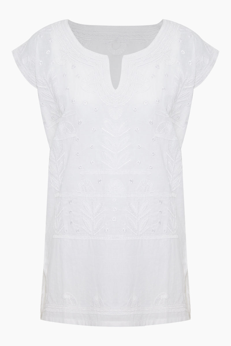 Riviera Embroidered Tunic - White