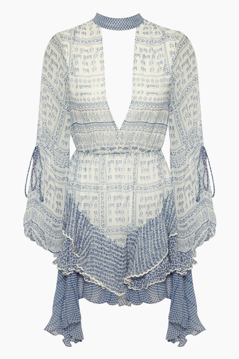Chiffon Ruffle Long Sleeve Mini Dress - Hindu Blue Print