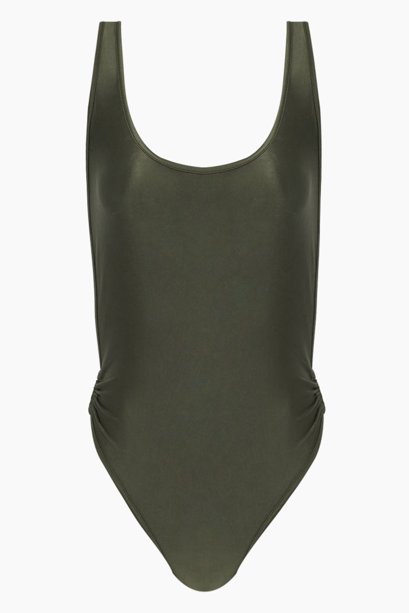 Brazilian Cut Out Ring Sides One Piece Swimsuit - Olive Green