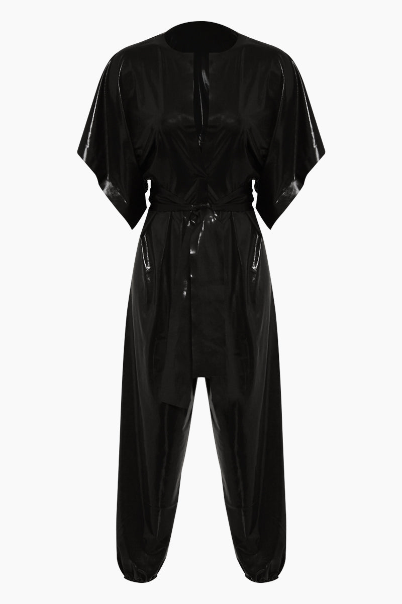 Rectangle Jog Short Sleeve Jumpsuit - Black