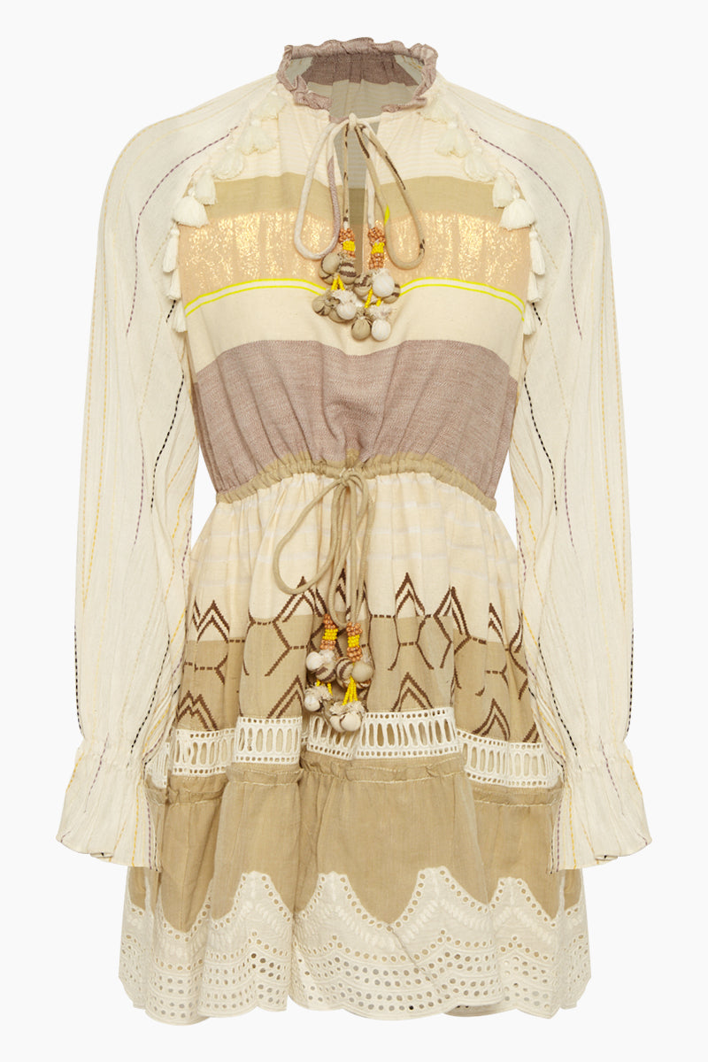 Chiffon Tassel Long Sleeve Mini Dress - Mana Beige Stripe Print