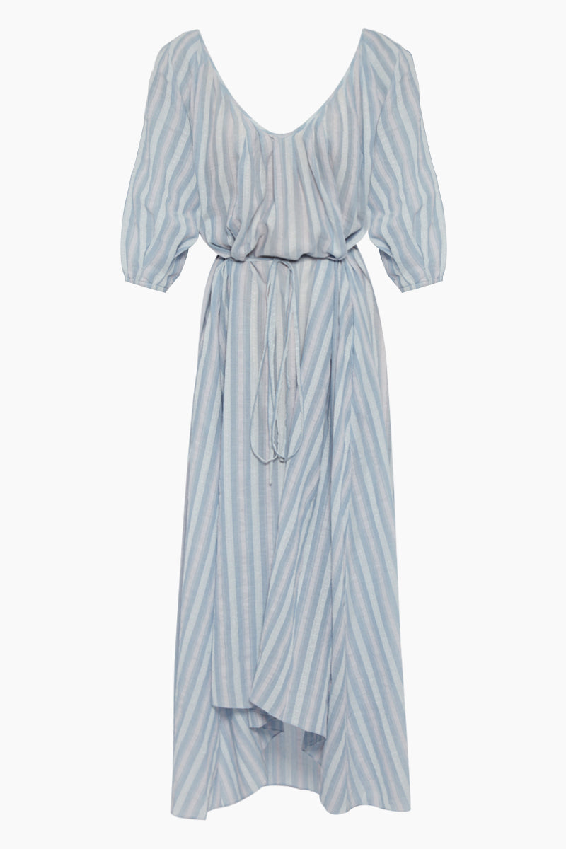 Nefasi Empress Maxi Dress - Sky Blue Stripe Print