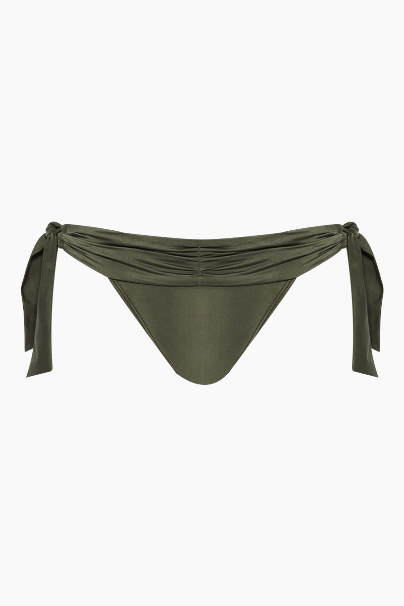Ruched Waist Tie Side Bikini Bottom - Olive Green
