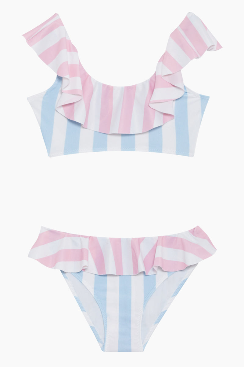 Color Block Ruffle Bikini Set (Kids) - Pink & Blue Stripe Print