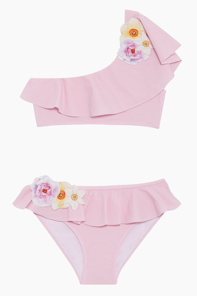 Flower Ruffle One Shoulder Bikini Set (Kids) - Light Pink
