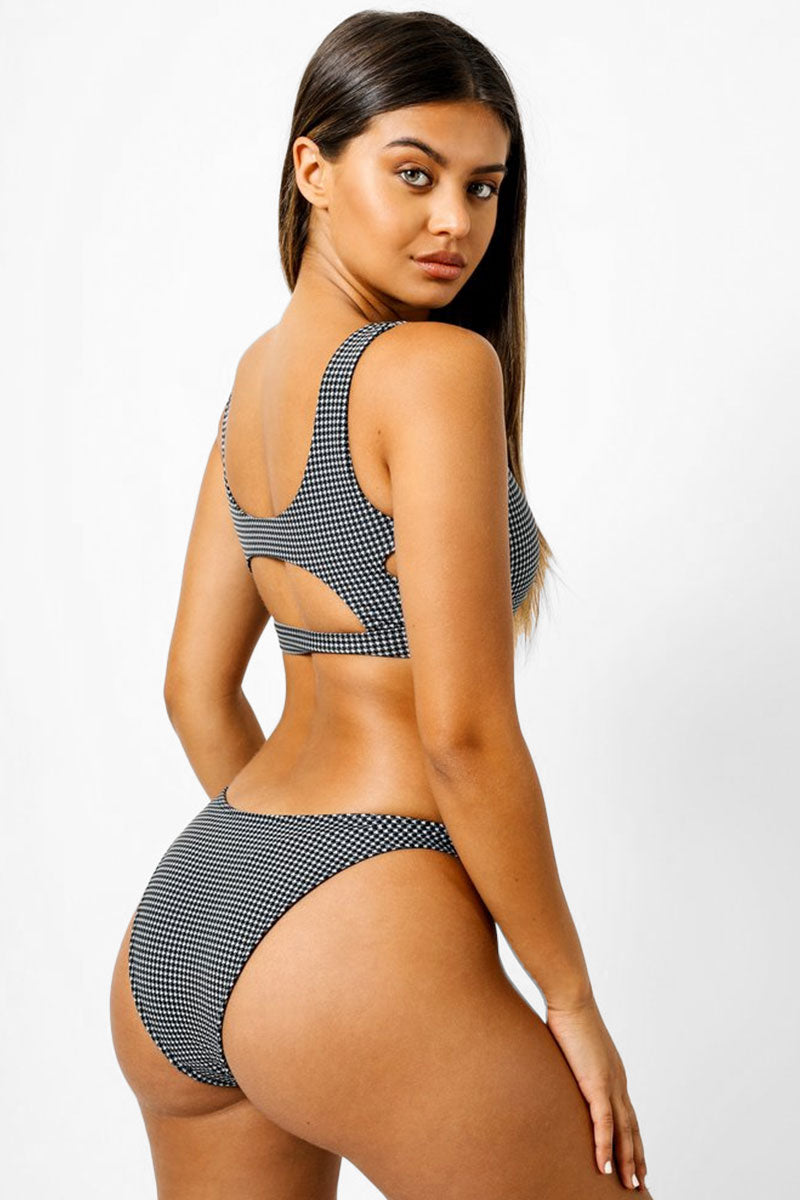 Shelby Cheeky Bikini Bottom - Black & White Houndstooth Print