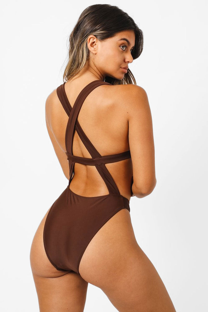 Sofia Monokini Criss Cross Back One Piece Swimsuit - Chocolate Brown
