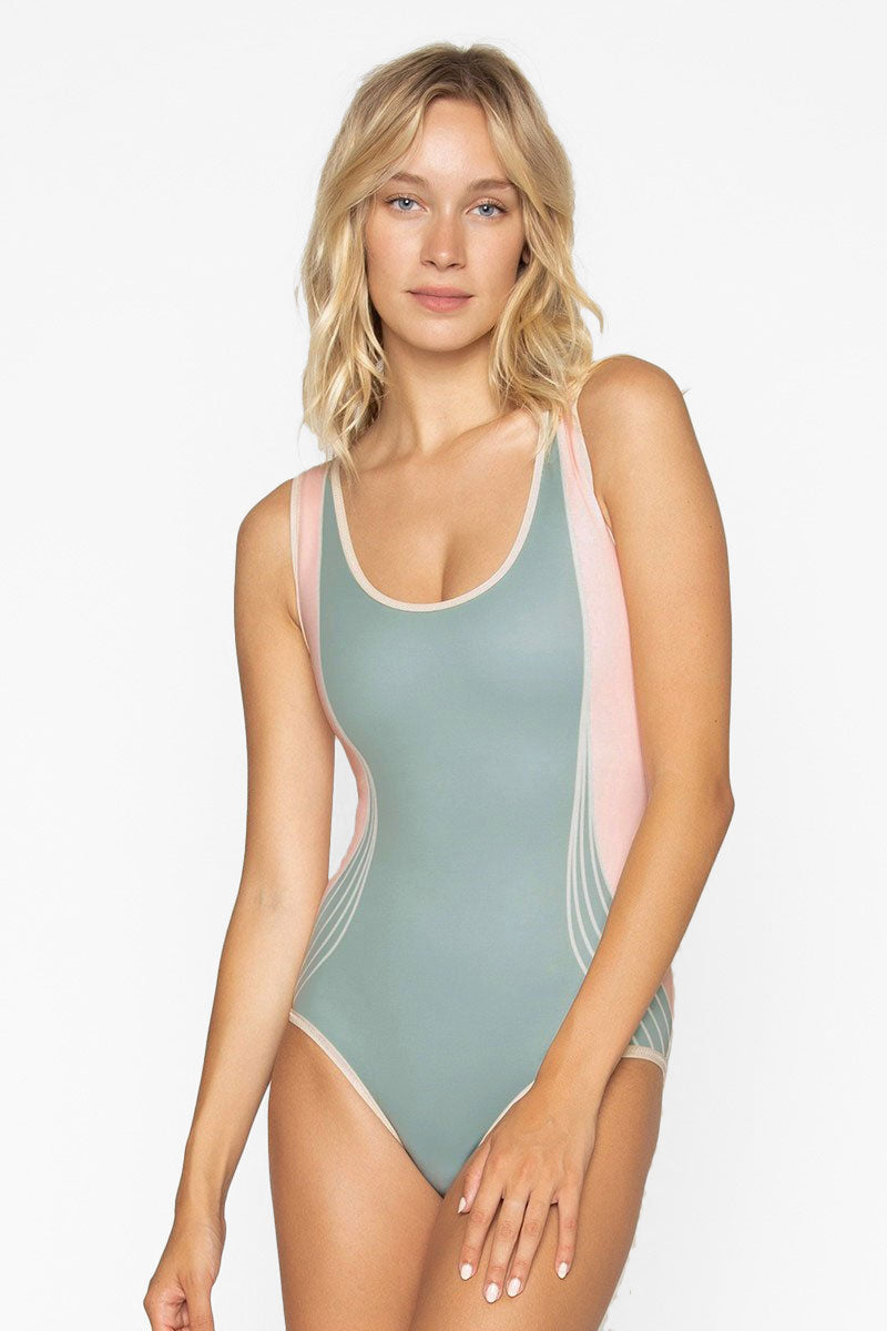 1c22f1c2d06 SEEA Kennedy Scoop Tank Color Block One Piece Swimsuit - Deco Green & Pink  - undefined ...