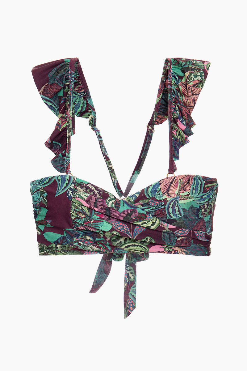 Ruffle Strap Samba Wrap Bikini Top - Purple Tropical Print