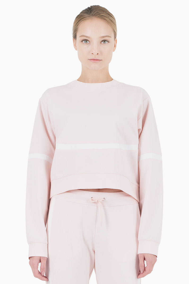 Campbell Scoop Neck Long Sleeve Sweatshirt - Blush Pink