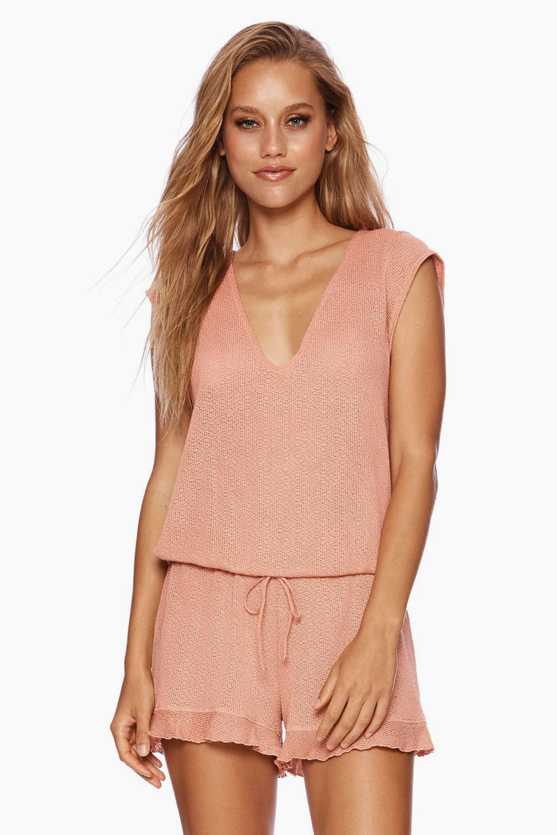 Annika Short Sleeve Romper - Whiskey Rose Pink