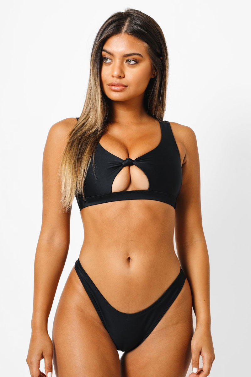 Abby Cut Out Bikini Top - Black