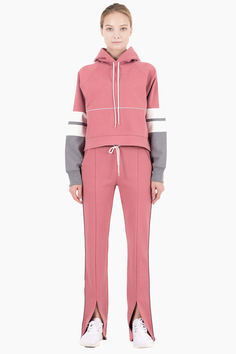 Lisbeth Color Block Front Slit Sweatpants - Dusty Pink/White