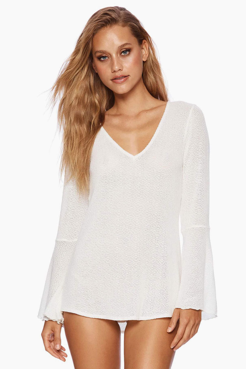 Annika Flowy Long Sleeve Top - Ivory White