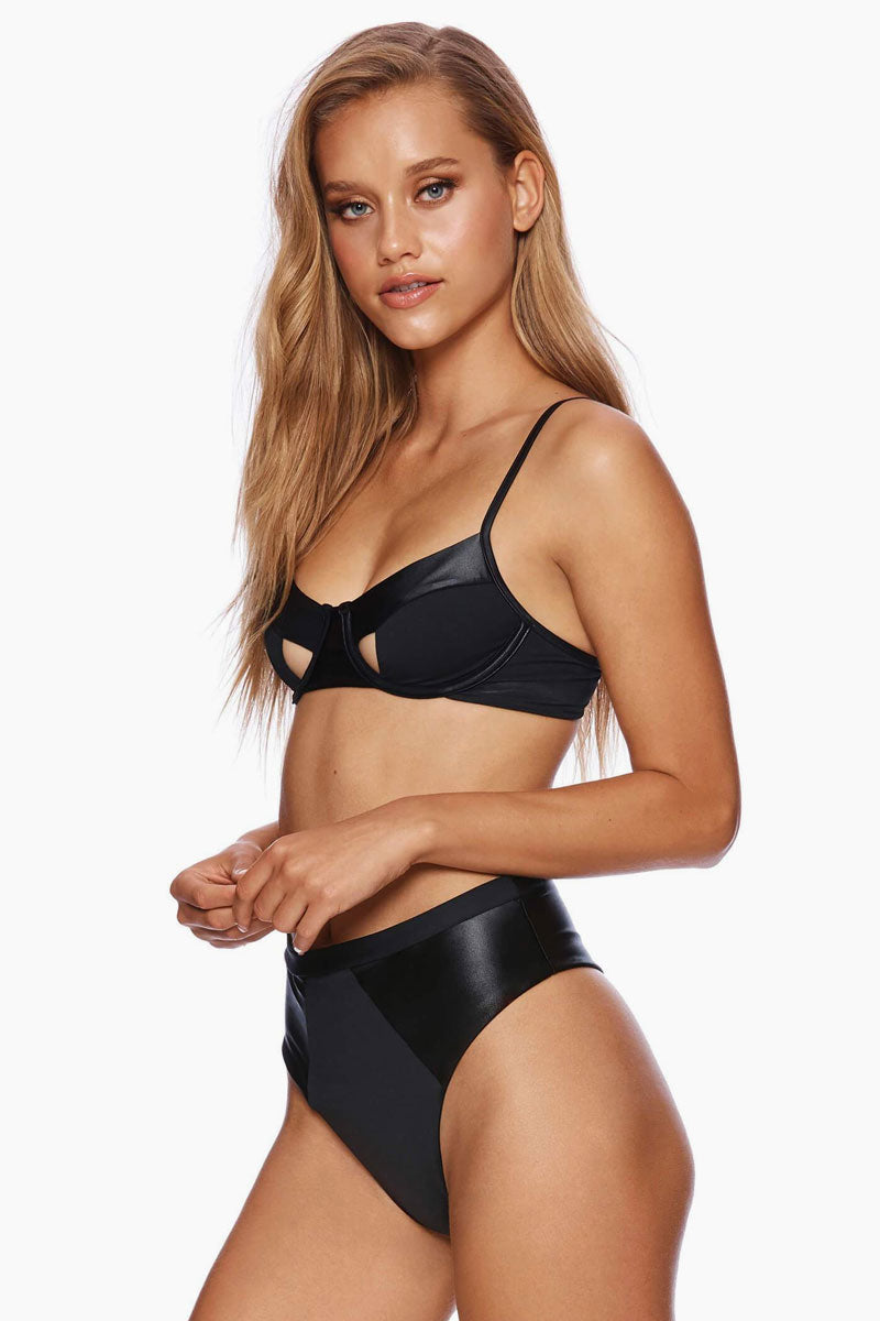 Matte Shine Cut Out Underwire Bikini Top - Black