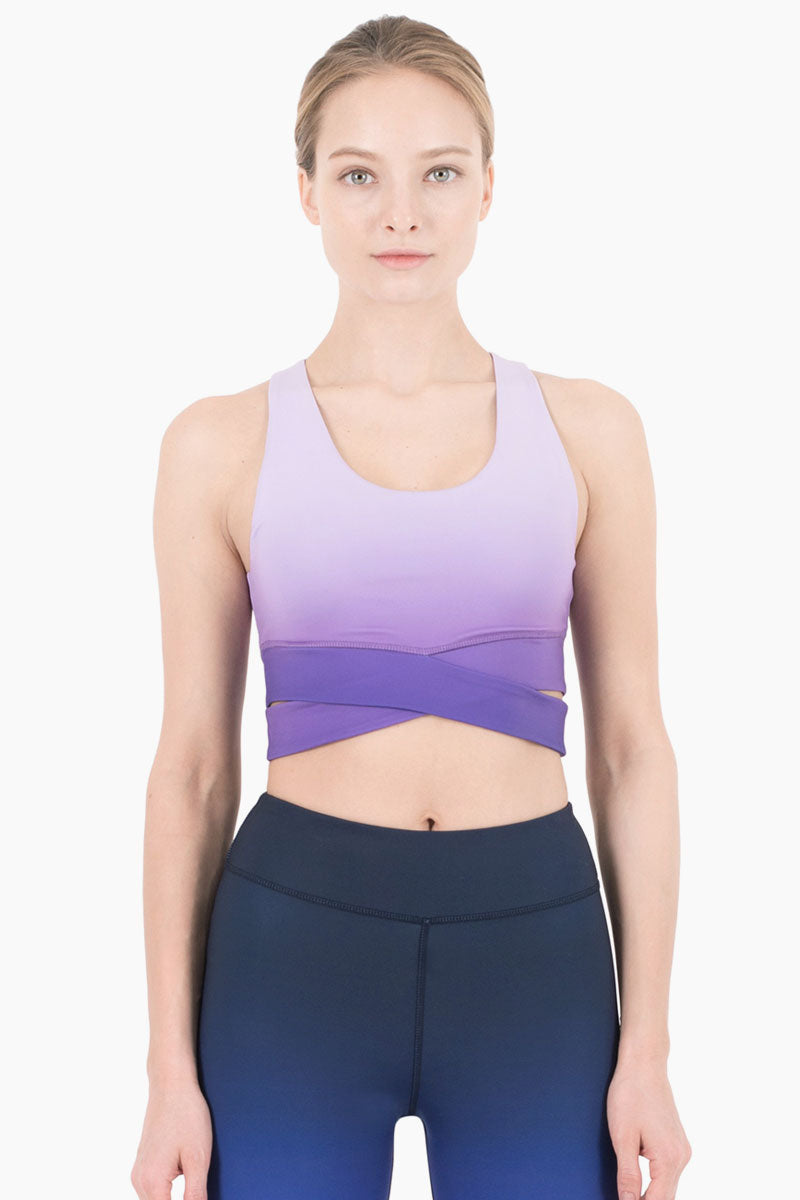 Mercer Wrap Cropped Tank - Violet Purple Ombre Print