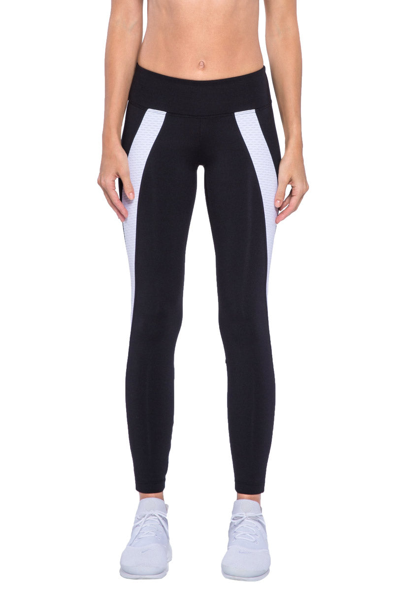 Hull Color Block Panel High Waist Leggings - Black/White