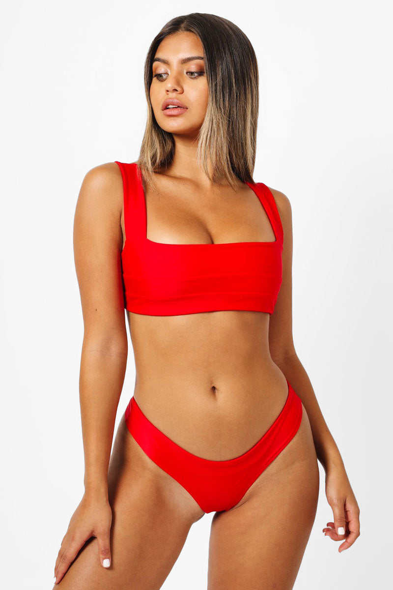 Hampton Back Tie Bikini Top - Red